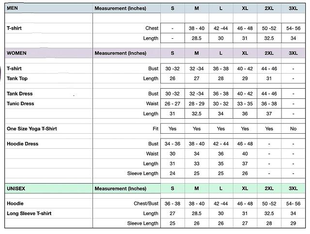 Main Sizing Chart